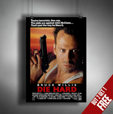 DIE HARD POSTER A3 A4 * Bruce Willis Classic Action Thriller Film Print