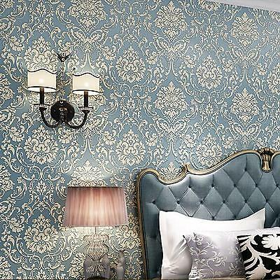 0.53M x 10M Damask Embossed 3D Textured Feature Wall Paper Wallpaper Light Blue