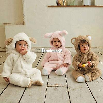 Cute Babykleidung Coral Fleece Overall Cartoon-Stil Romper Baby Kleidung Outfits