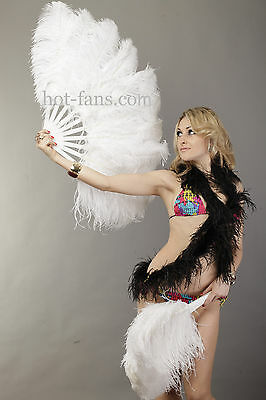 White Single layer Ostrich Feather Fan for pair set 2 fans Burlesque friend
