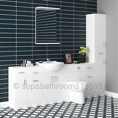 Bathroom Cloakroom Vanity Classic Furniture Storage Units High Gloss White