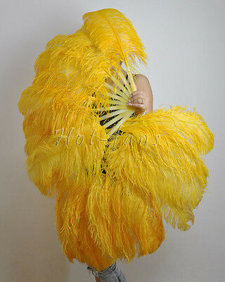 Gold Yellow Single layer Ostrich Feather Fan for pair set 2 fans Burlesque frien