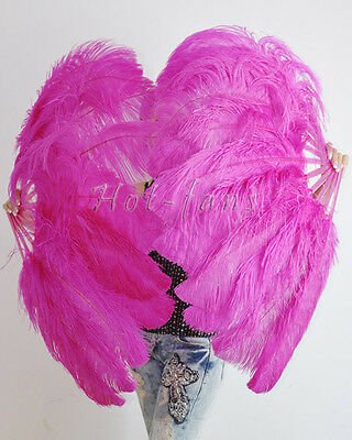 Hot Pink  Single layer Ostrich Feather Fan for pair set 2 fans Burlesque friend