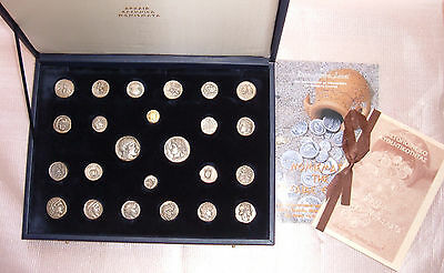 "Rare Collection ""24 Ancient Greek Coins""  Pure Silver 950, 1 Gold Plated 24 K"