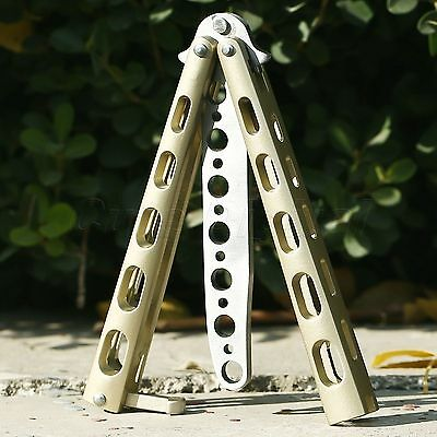 Gold Metal Steel Practice BALISONG BUTTERFLY Trainer Training Dull Knife Tool