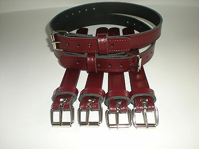 Dolls Pram Coach built vintage pram real leather  suspension straps in Burgundy
