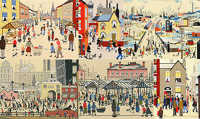 Bothy Threads LOWRY Cross Stitch KITS 7 DESIGNS Street Market Mill Canal Cheese