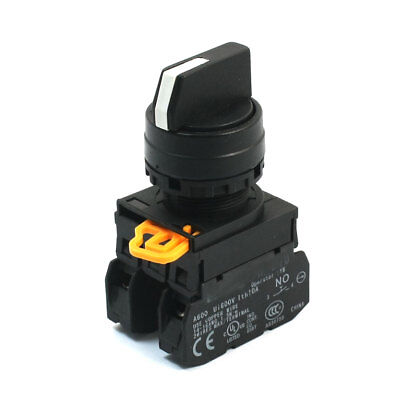 Panel Mounted 3 Position Selector Self-Lock Rotary Switch 600V 10A 2NO