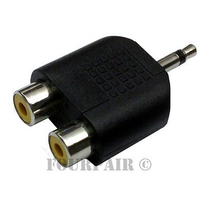 """Dual RCA Female Jacks to 3.5mm 1//8/"""" Mono Male Y Splitter Audio Adapter 20 Pack"""