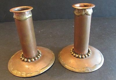 """Vintage Craftsman Arts & Crafts Copper and Brass Candle Sticks 3.5"""" Pair Beading"""
