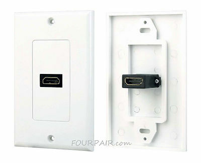 1-Port HDMI Wall Face Plate Panel Cover Outlet Extender 1080P 4K ARC HDR White