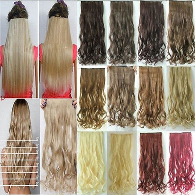 Clip in Hair Extensions half full head one piece half head real synthetic long