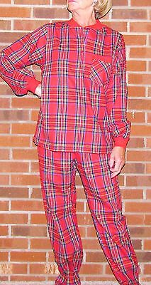 Pajamas footed two piece plaid Ladies/Adult 'Made in USA' Stay Warm and Have Fun