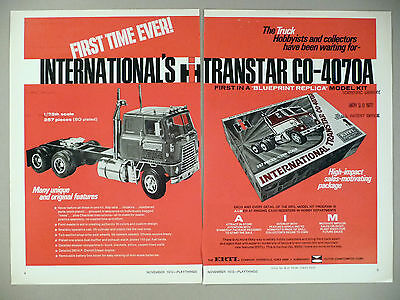 International Transtar CO-4070A Toy Truck 2-Page PRINT AD - 1972 ~ Ertl