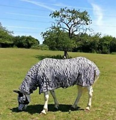 """New Design Horse fly rug combo attached neck cover Zebra Print 5'6""""- 7'0"""" sale"""