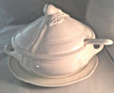 Soup Tureen  Whittier Pottery Oval with Pear Handle, Ladle, Oval Dish  Vintage