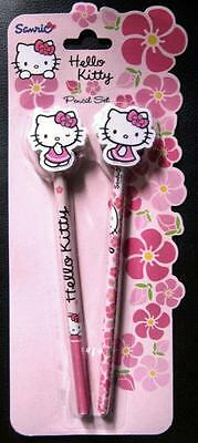 HELLO KITTY Pink Pencil Set 2 Pencils 2 Eraser Tops Girls Novelty Stationery NEW