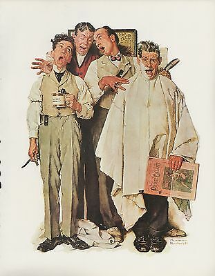 "1977 VINTAGE ""BARBERSHOP QUARTET"" by NORMAN ROCKWELL MINI POSTER Lithograph"