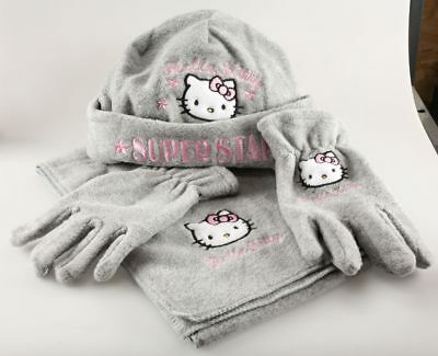 Vêtement Hello Kitty Set Bonnet Echarpe Gants Hello Kitty T1 - 52 cm Gris