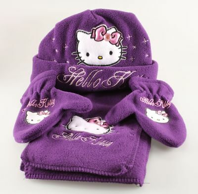 Vêtement Hello Kitty Set Bonnet Echarpe Mouffles Hello Kitty T1 - 48 cm Mauve
