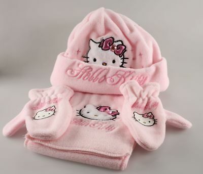 Vêtement Hello Kitty Set Bonnet Echarpe Mouffles Hello Kitty T1 - 48 cm Rose