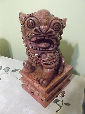 16lb Antique Chinese Stone Carved Foo Dog Detailed 12' Tall