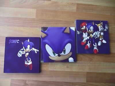 Sonic The Hedgehog Canvas Wall Art Plaques/pictures Set- Free Postage