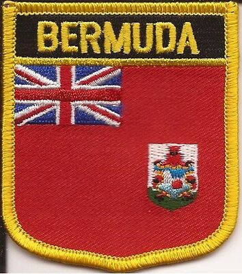 BERMUDA SHIELD FLAG EMBROIDERED PATCH - IRON-ON - NEW APPROX 2.5 x 2.75""