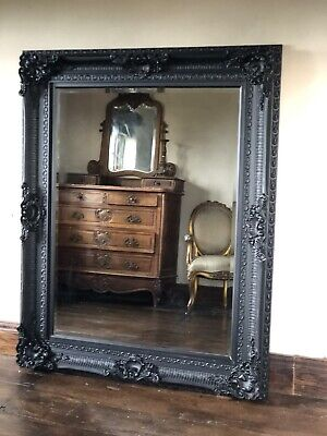 Black Large French Overmantle Vintage Period Ornate Statement Wall Mirror 5ft