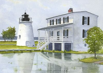 Smith Point Lighthouse Chesapeake Bay Virginia Matted Watercolor Art Prints