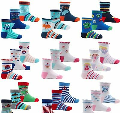 3 pack Baby Boys Socks Girls Kids Cotton Rich Newborn UK 0-24 months