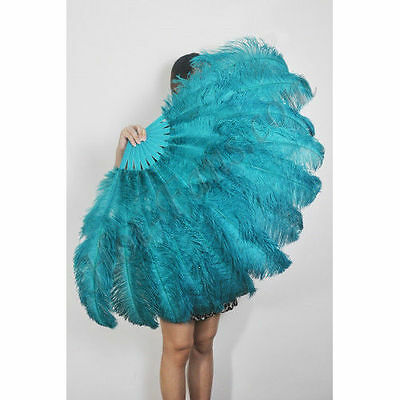 """Teal Burlesque fan 2 layers Ostrich Feathers 54"""" dancing fan with gift box"""