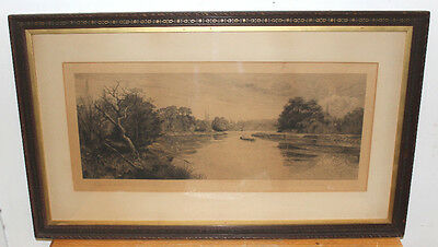 "19th Century Lithograph ""Eel Pie Island"" by R.D.Winter, Signed by Author, 1890s"