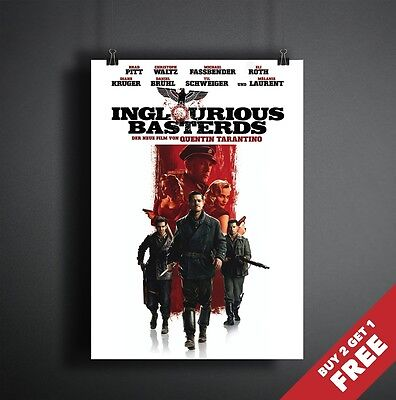 Inglorious Basterds 2009 Movie Poster A3 A4 * Quentin Tarantino Film Print
