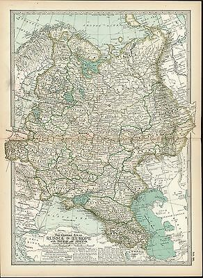 Russia in Europe Poland Finland 1898 antique color lithograph map