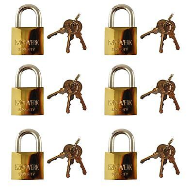 6 x 50mm Shackle Brass Padlock / Security / Lock Gate Door Shed AT089