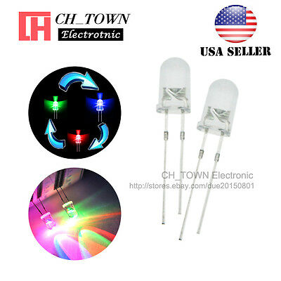 100pcs 5mm Rainbow Water Clear RGB 2pin Flash Fast Flashing LED Diodes USA