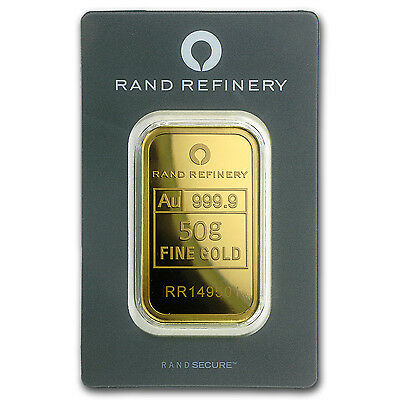50 gram Gold Bar - Rand Refinery - Mirage (In Assay) - SKU #91445