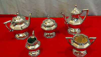 "Sterling Silver 5 Pc Tea & Coffee Set By Mauser -55.7 Troy Ounces ,Initial ""S"""