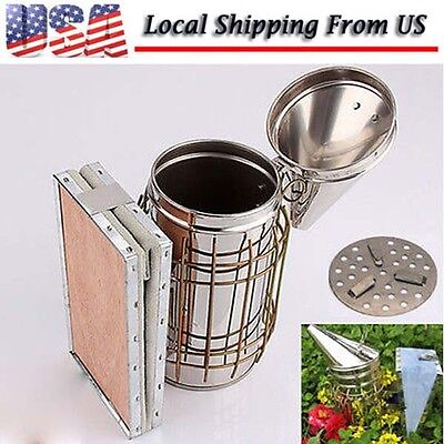 New Bee Hive Smoker Beekeeping Equipment Tool + Stainless Steel Heat Shield - US