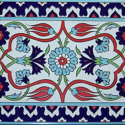 "100 Red, Green & Blue 8""x8"" Ottoman Iznik Floral Pattern Ceramic Tile BORDER"