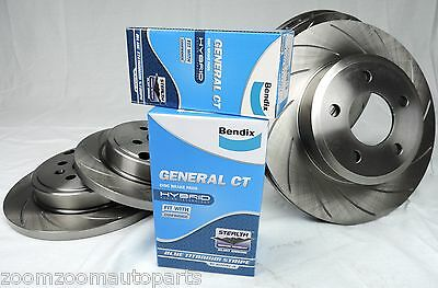 Slotted Pair Front & Rear Disc Brake Rotors & Bendix Pads Commodore Vt Vx Vy Vz