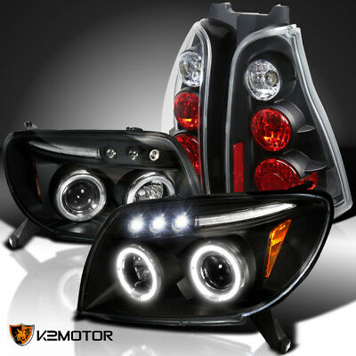 FIT 03-05 4RUNNER Black Halo LED Projector Headlights+Tail Brake Lamps