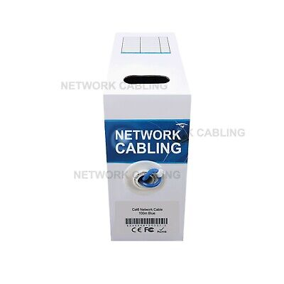 Cat6 100M UTP Solid Ethernet LAN Network Blue Cable with FREE 10 RJ45 100/1000