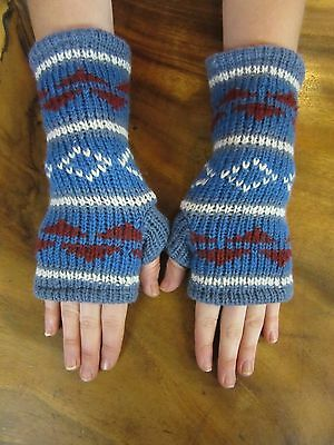 Nepalese Hand Knitted Fingerless Gloves Warm Fully Lined Winter Pattern