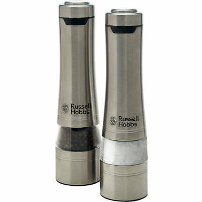Russell Hobbs Silver Electric Salt/Pepper Mill Set/Grinder/Grinding/fine/coarse