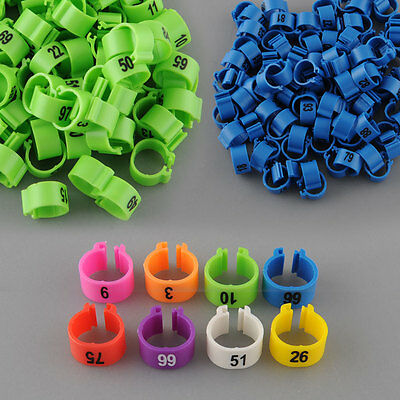 100Pcs Poultry Leg Bands Pigeon Parrot Duck Rings Clip 1-100 Numbered
