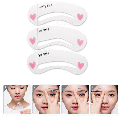 3x Eyebrow Template Stencil Shaping Liner Reusable Eye Brow Shaper Make Up DIY
