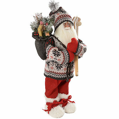 Large Standing Santa 60cm Figurine Christmas Decoration with Knitted Outfit