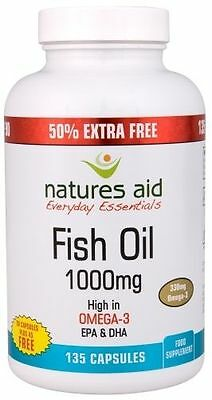 Natures Aid - Fish Oil 1000mg - 90 Cpas + 50% Extra Free!! 135 Capsules